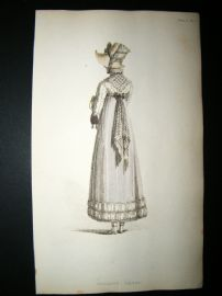 Ackermann 1814 Hand Col Regency Fashion Print. Walking Dress 12-20